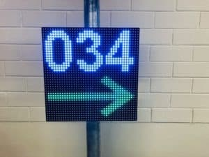 Direction and Amount of Free Parking Spaces LED Signs. AmpronLED software JSON file configuration by Ampron: team@ampron.eu