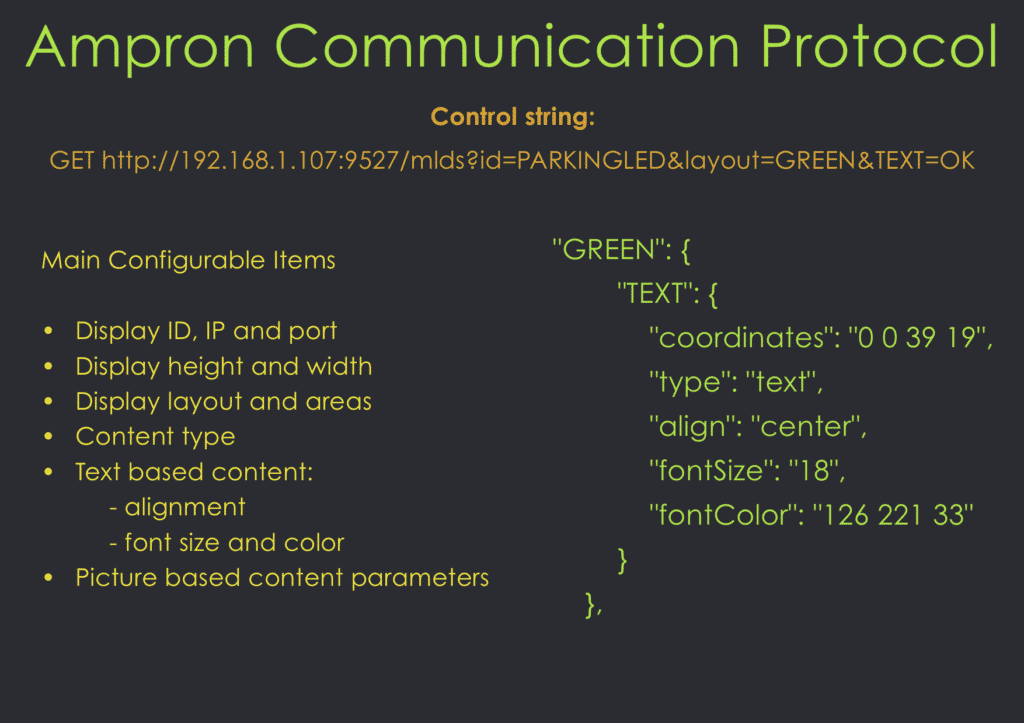 Ampron LED variable message board software based communication protocol description