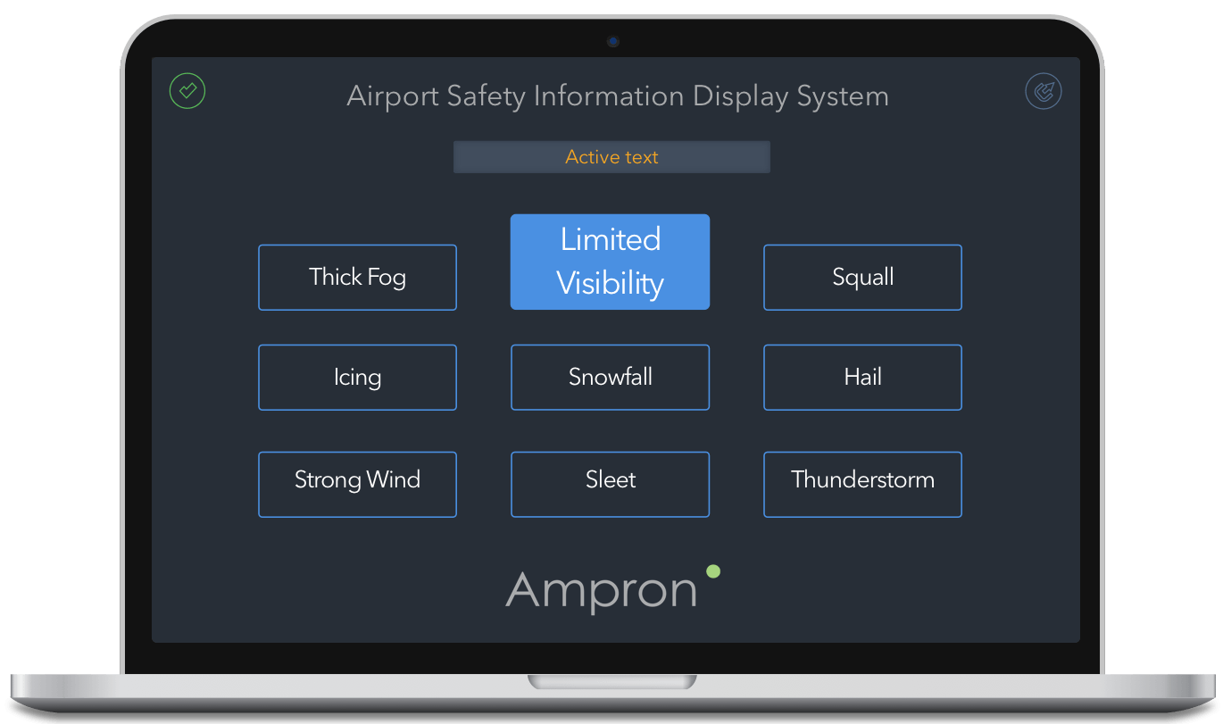 Apron Information and Warning Solution User Interface